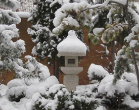 Oribe lantern in snow on Goodrich